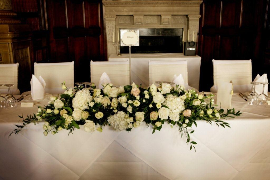 Wedding Reception Bridal Table Flowers Top White Simple
