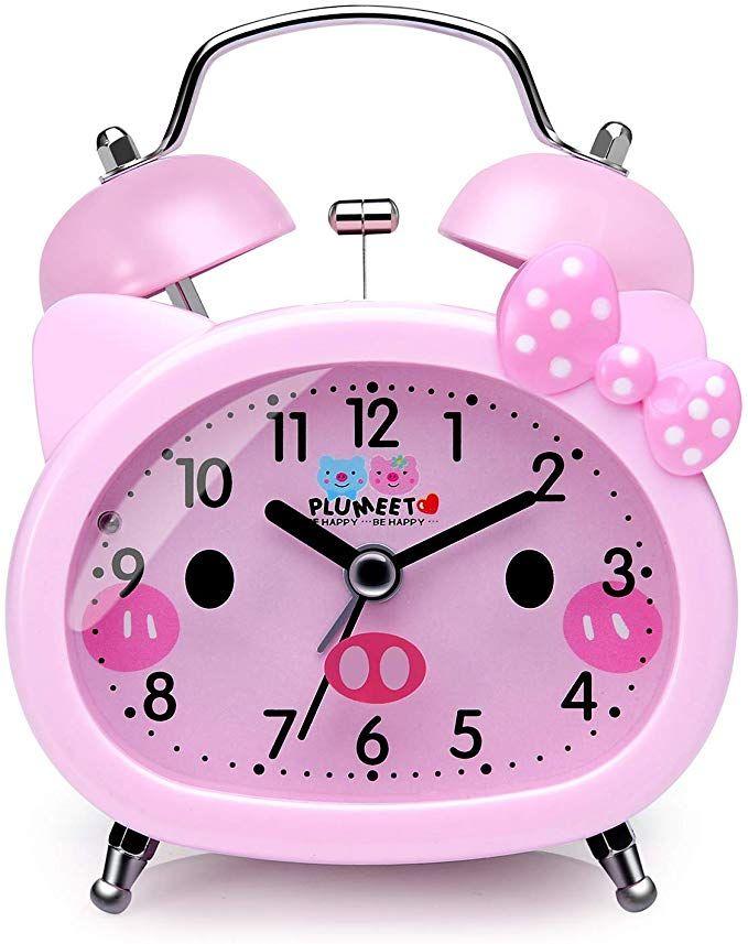 Plumeet Twin Bell Alarm Clock For Kids Silent Non Ticking Cartoon Quartz Loud Alarm Clock For Girls Cute Handheld Sized Backlight Battery Operated Pink R Clock For Kids Kids Alarm Clock Loud