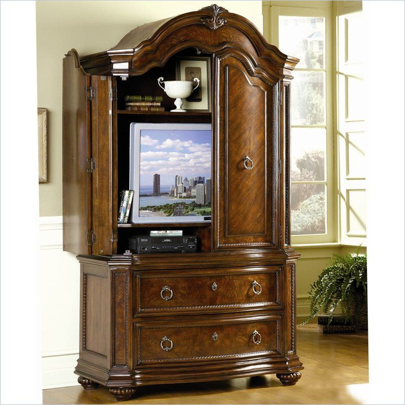 Prenzo TV Armoire in Warm Brown Finish - 1390-7   french country ...