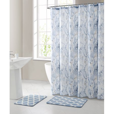 Mainstays Marble 15 Piece Shower Curtain Bath Set Walmart Com