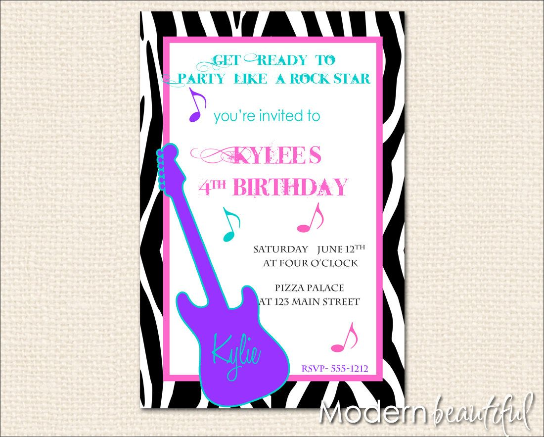 Rock Star Party Rockstar Birthday Party Invitations Personalized ...