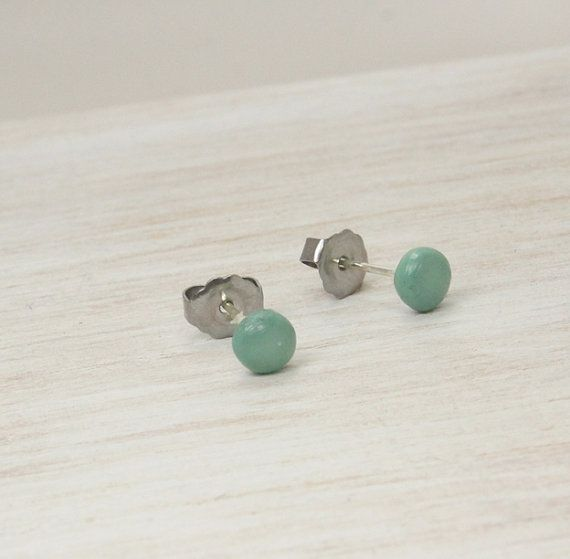 Mint Post Earrings Tiny Mint Earrings Small by PureImpressions, $8.50