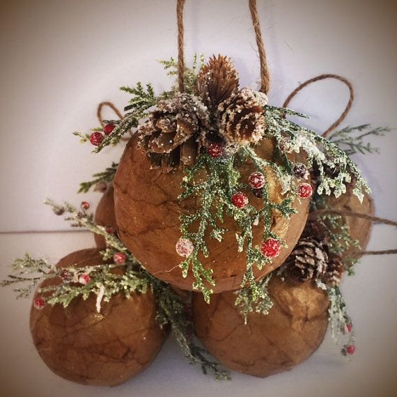 Natural Winterberry Decoupaged Ornament by TheDistressedUnicorn