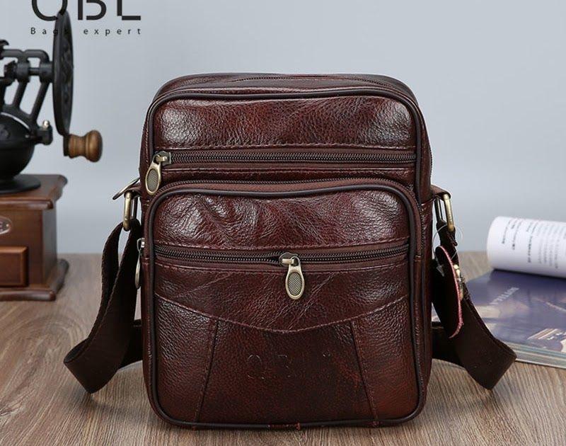 24d710cdf5 Free shipping QiBoLu Cow Mens Genuine Leather Bags Flap 2018 Travel  Business Messenger Bag Men Crossbody