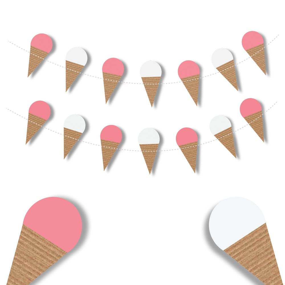 ice cream cone garland pink and white perfect for kids birthday rh pinterest com