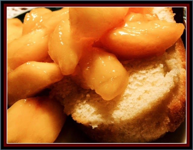 Mystery Lovers' Kitchen: Birthday Pound Cake with Peaches from author @LucyBurdette MURDER WITH GANACHE