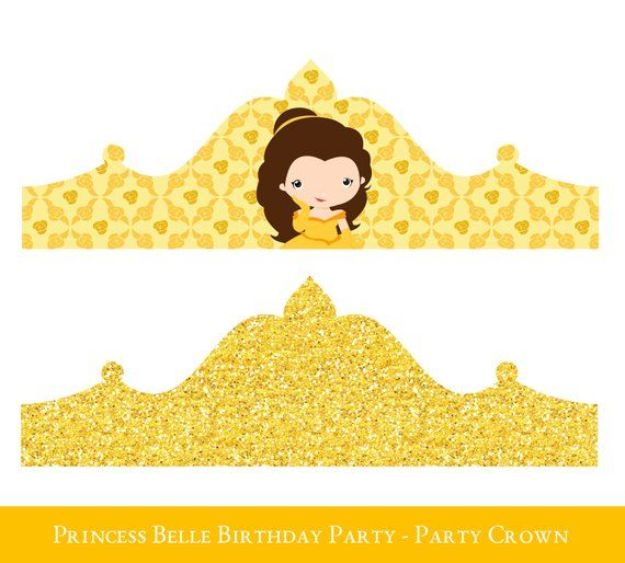 Belle Crown Printable, Birthday Crown, Crown Printable, Princess