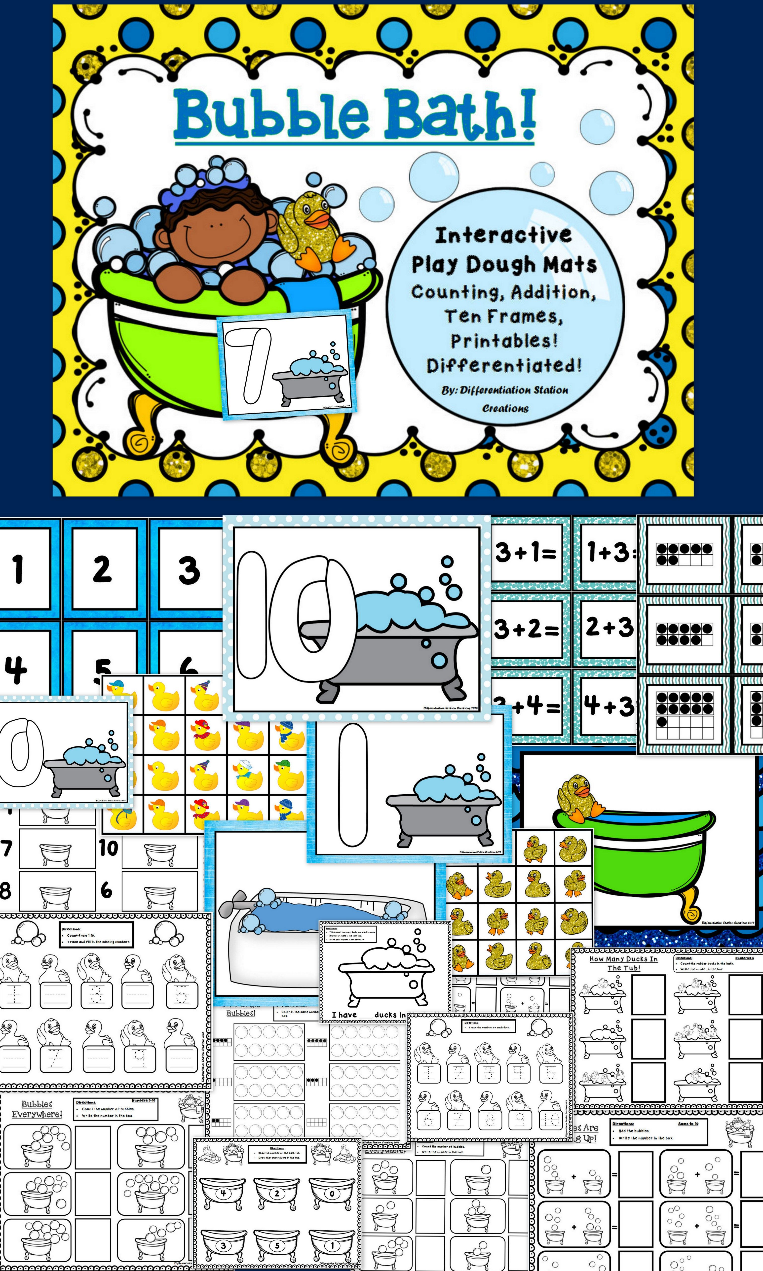 Interactive Play Dough Mats, Counting Centers & Games, Printables ...