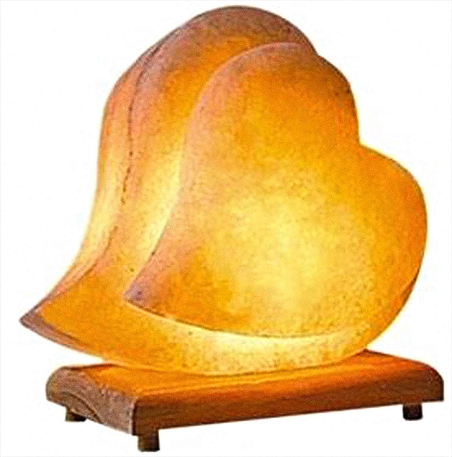 Himalayan Salt Lamp Hand Carved Himilian Pink Light Romantic Double Heart Crystal Rock On Neem Wood Himalayan Salt Lamp Natural Himalayan Salt Lamp Salt Lamp