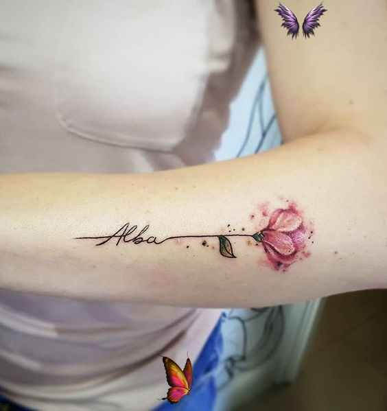 Tattoos for daughters - Flower with name tattoo for women flower women names tattoo flowertattoos –