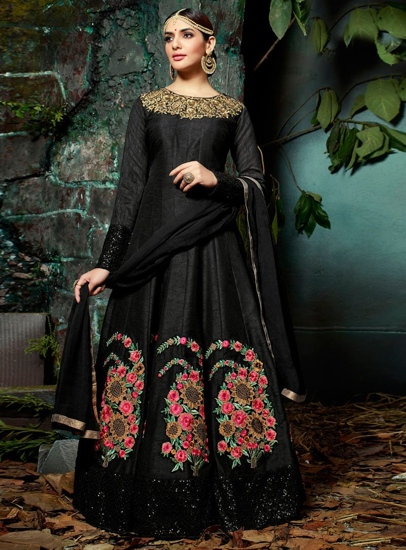 Black silk long anarkali suit pari pinterest long