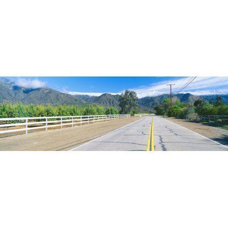 Orange Groves & Snow on Topa Topa Mountains Ojai California Canvas Art - Panoramic Images (27 x 9)