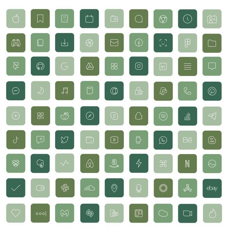 36 Green iOS 14 App Icons Light Bright Mood iOS14