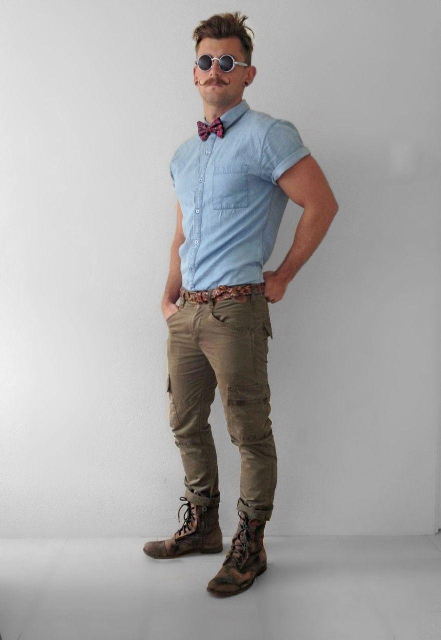 hipster HOT mens fashion style, denim shirt boots green ...
