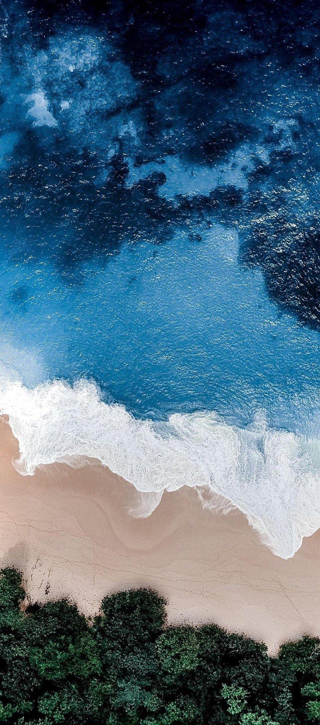 iOS 11, iPhone X, Aqua, blue, Water, beach, wave, ocean, apple, wallpaper, iphone 8, clean ...