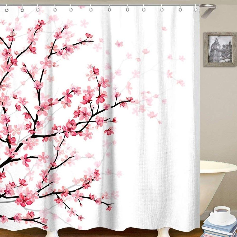 Polyester Shower Curtain With Hooks Pink Cherry 72 X 72 In 2020 Curtains Shower Curtain Sets Diy Bathroom Decor