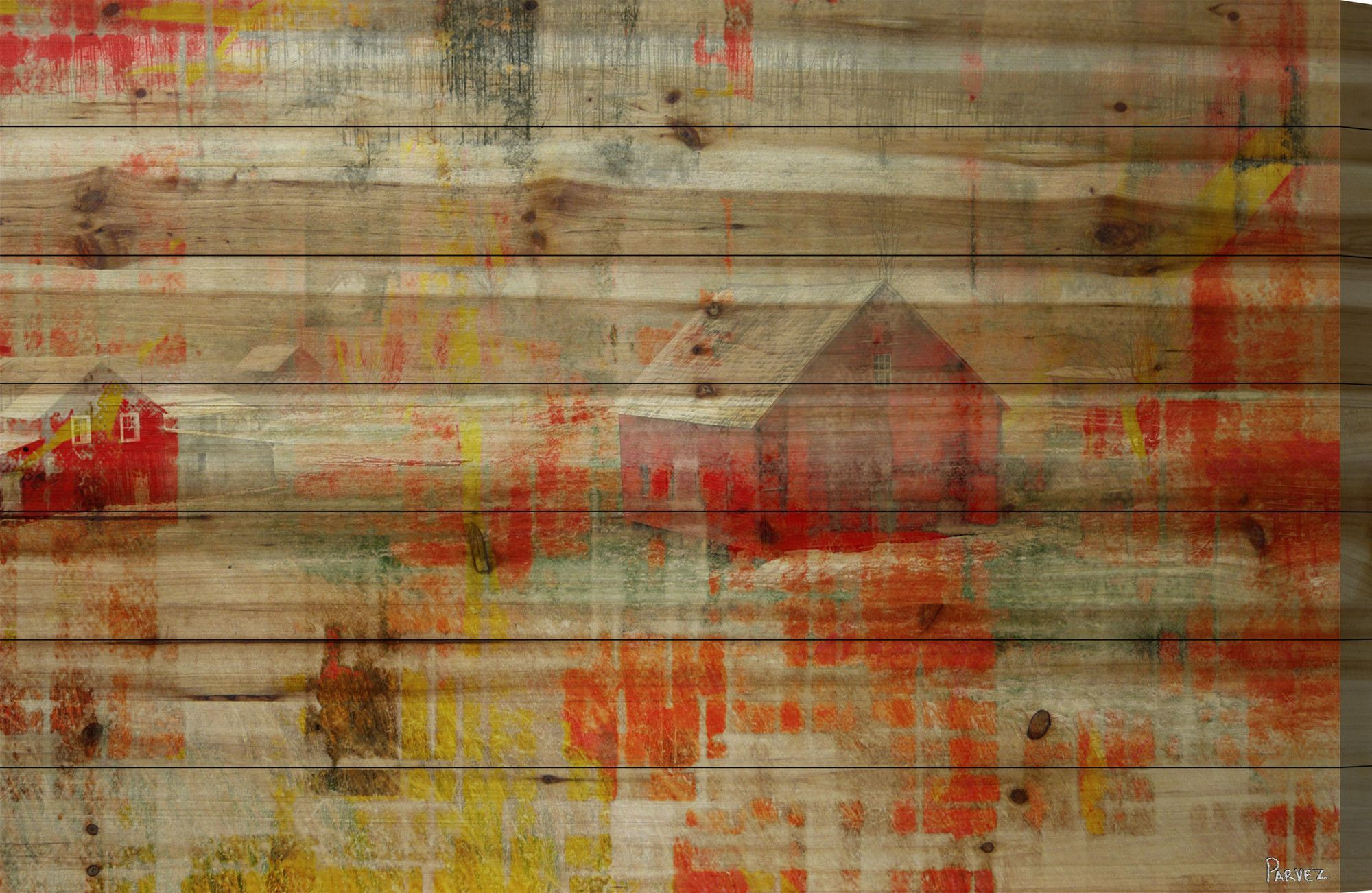 Red barn art print on natural pine wood red barns painting