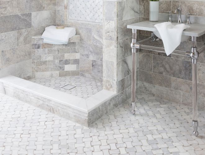 Traditional Bathroom With Grey Travertine And Marble Tile Shower