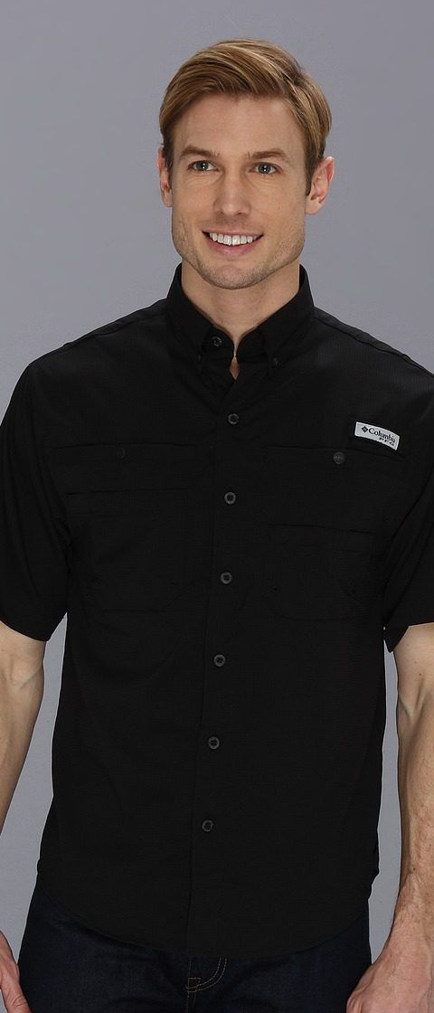 Columbia Tamiami II S/S (Black) Men's Short Sleeve Button Up - Columbia, Tamiami II S/S, FM7266-010, Apparel Top Short Sleeve Button Up, Short Sleeve Button Up, Top, Apparel, Clothes Clothing, Gift, - Street Fashion And Style Ideas