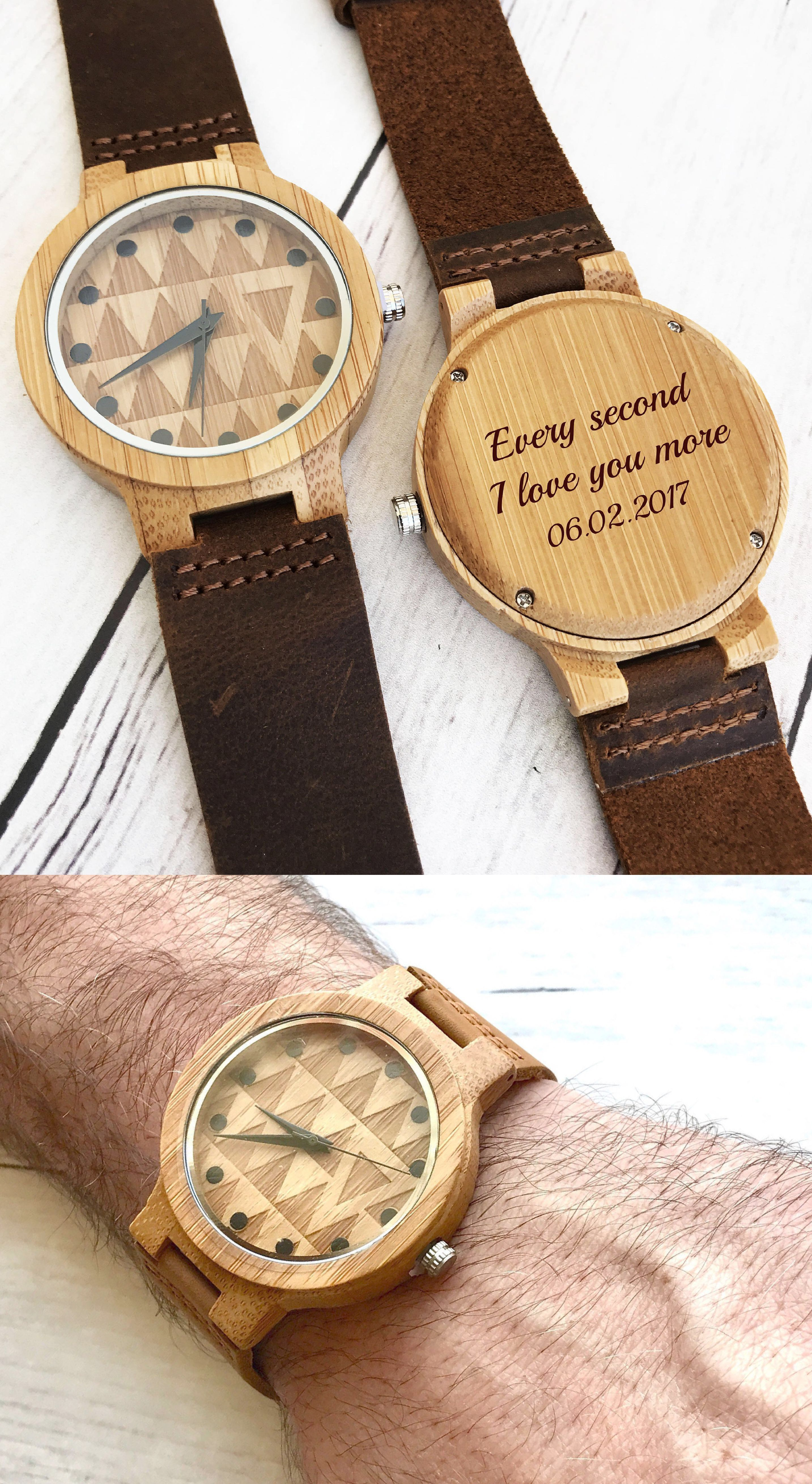 Engraved mens wooden watch for men christmas gift ideas