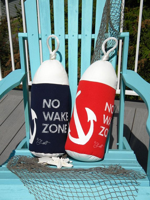 Buoy Pillow NO WAKE ZONE Outdoor Anchor Pillow By Crabbychris