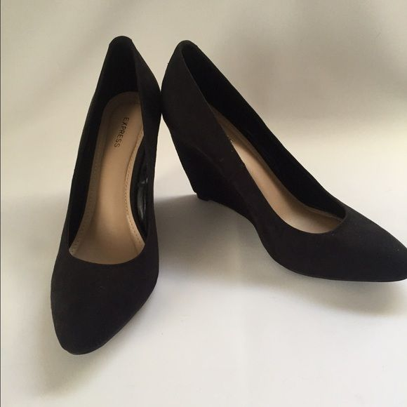5d48260df74 Express Sz 9 Black Suede Wedge Heels Shoes Express Size 9 Black Suede Wedge  3.75 inch Heels Shoes EUC Express Shoes Wedges