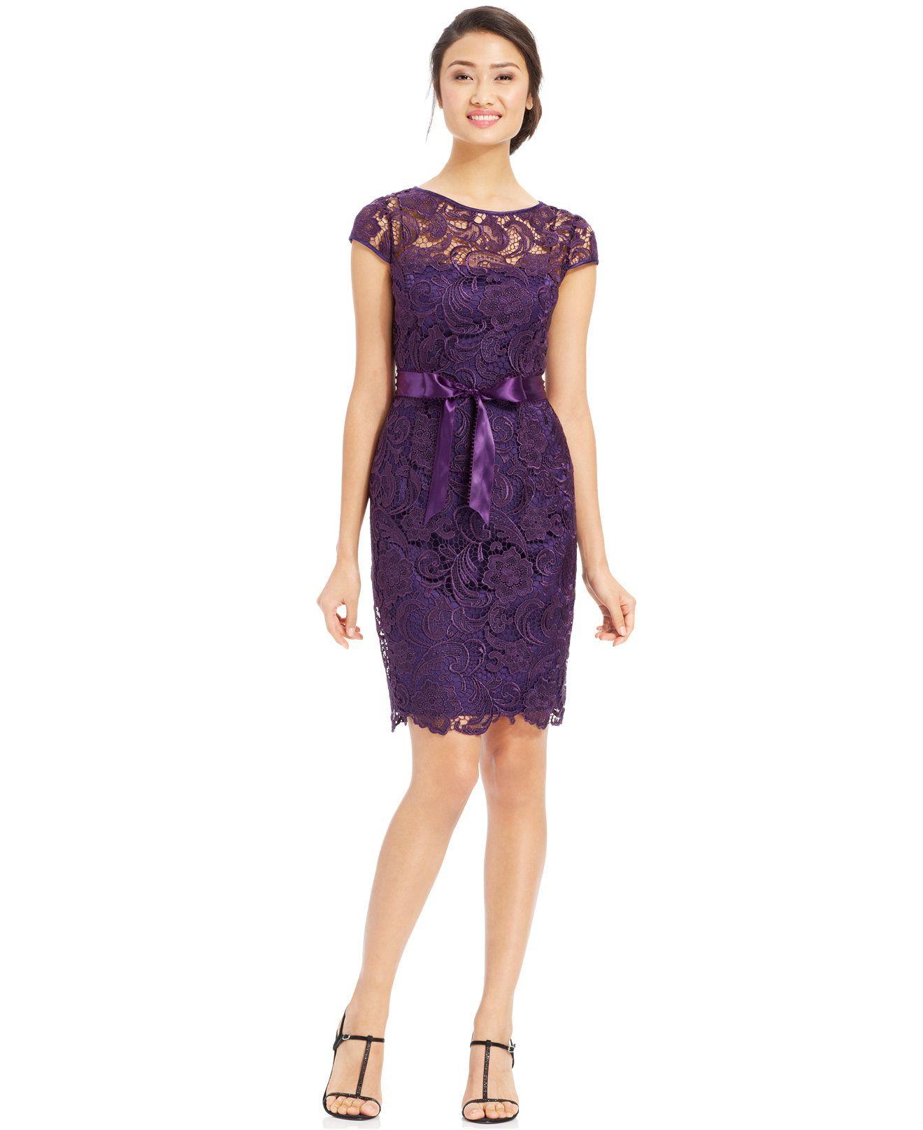 Adrianna Papell Lace Cap-Sleeve Illusion Sheath Dress | Adrianna ...