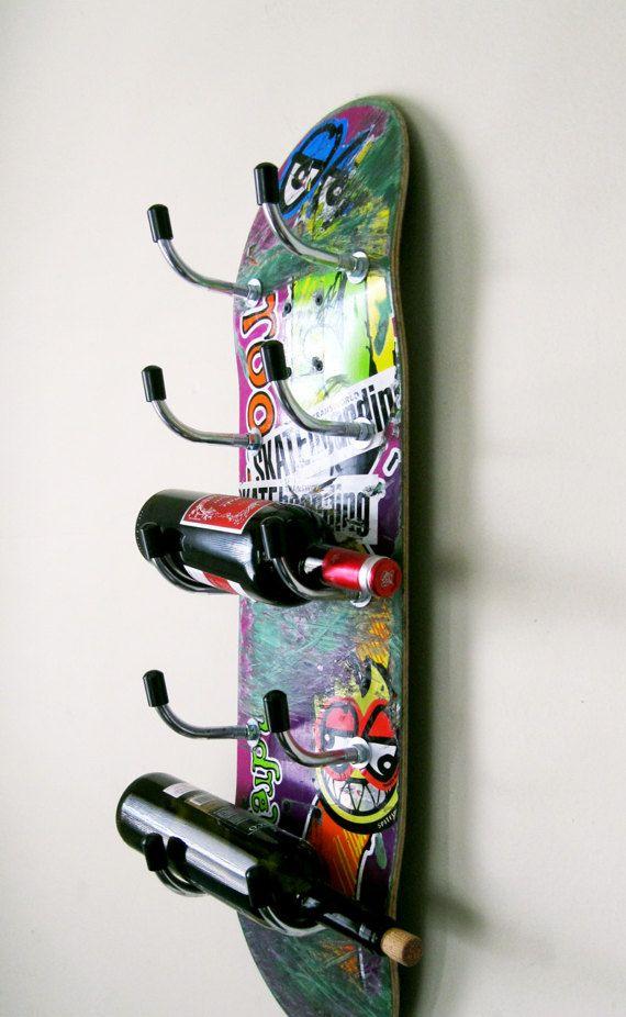 skateboard wine rack hausgemachte weinregal weinregal mbel - Skateboard Regal Kinder Schlafzimmer