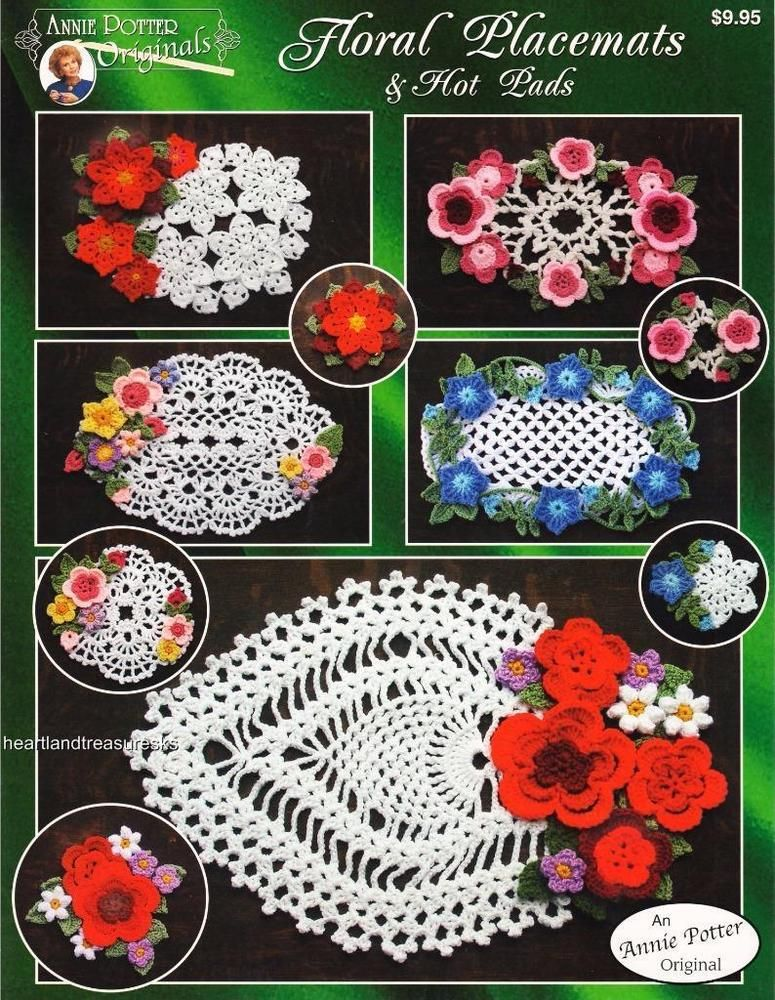 Floral Placemats Hot Pads Annies Crochet Pattern Booklet