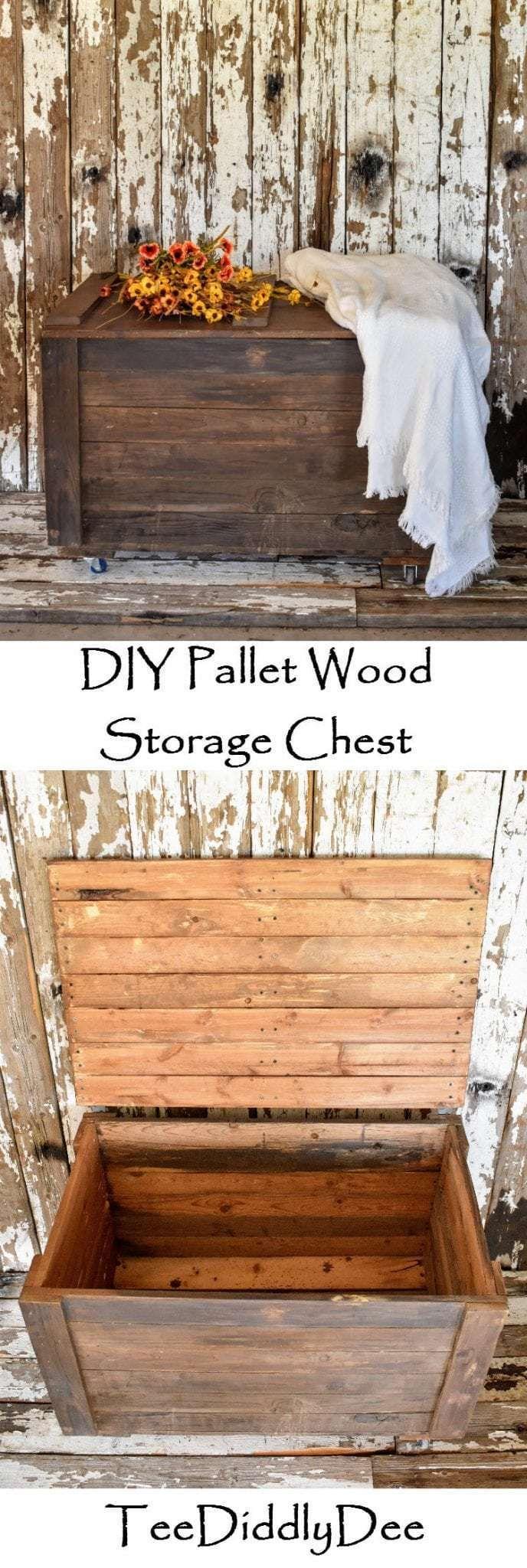 DIY Rustic Pallet Wood Storage Chest   Wood pallets ...
