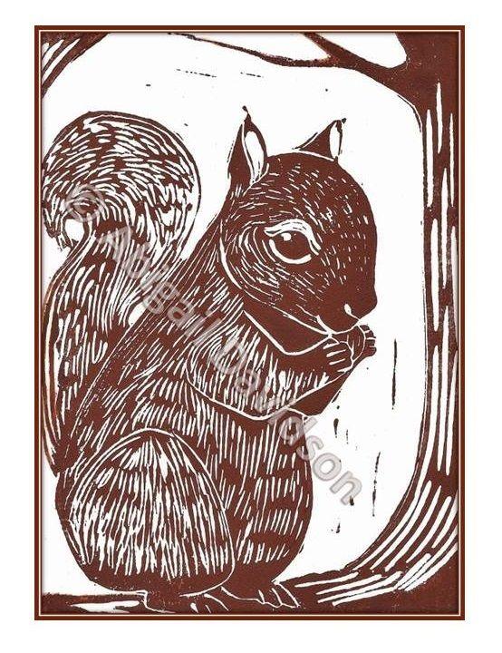 © Abigail Davidson Art -- Squirrel, original and handmade, printmaking