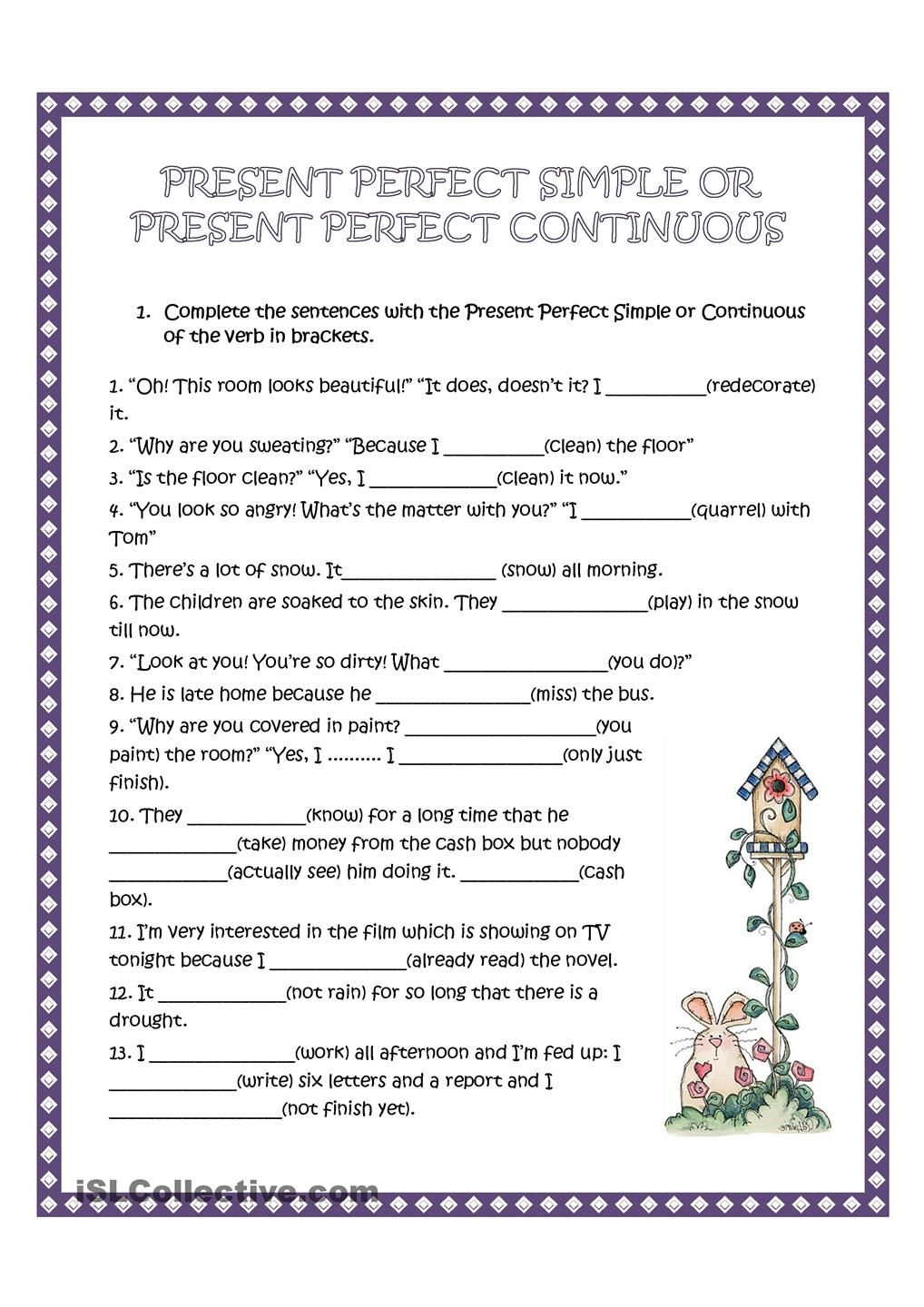 Present Perfect Simple And Continuous Present Perfect English Grammar English Grammar Worksheets