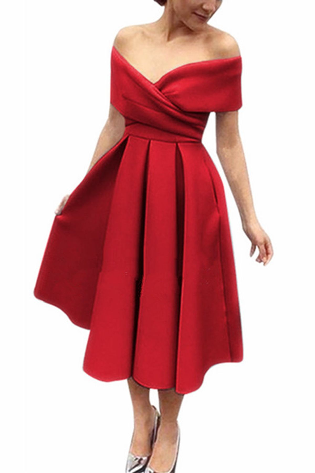 info for new design new authentic Simple red satin off shoulder V neck bridesmaid dress, short party ...