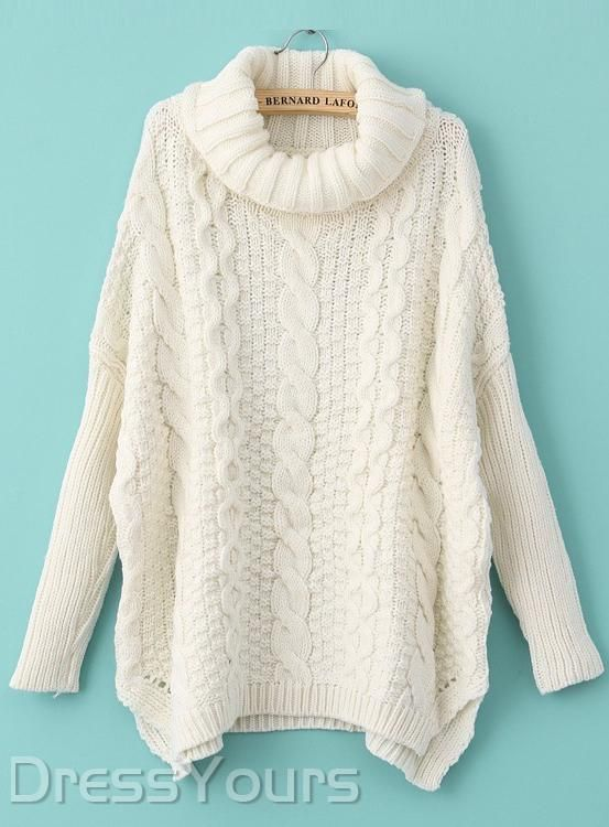 Top Quality Korean Style Loose Turtle Neck Plus Size Sweater Full