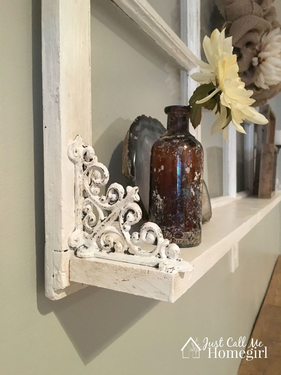 Ideas for old window frames  adding a shelf to an old window  window decorating and history