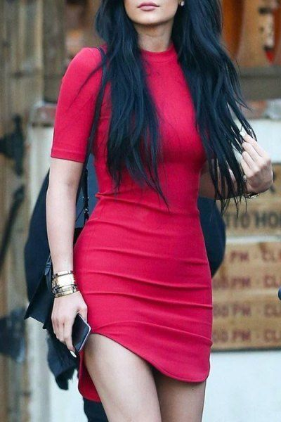 Solid Color Round Collar Short Sleeve Bodycon Dress RED: Bodycon Dresses | ZAFUL