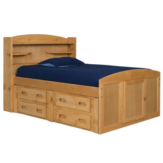 Wrangler Full Captains Storage Bed in Natural Storage beds
