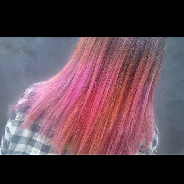 """Awesome pastel creative colour with pink, orange, and red Elumen hair by Ricky C - at R&B Haircraft in Melbourne, Australia          """"Every accomplishment starts with the decision to try.""""  9874 6047  Colourist: Ricky C  #hair #Qaba #rnbhaircraft #moreawesome #love #colour #sharkie #ootd #pastelhair #purplehair"""