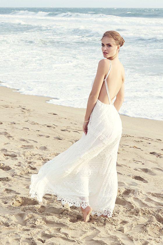 Ivory Lace Backless Dress