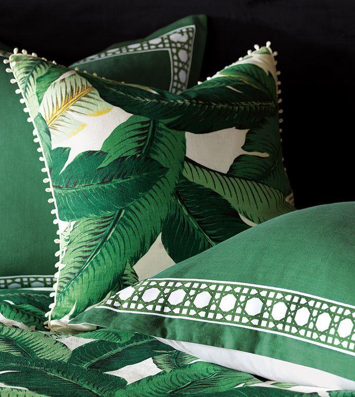 Lanai - green tropical bedding,banana leaf bedding,tropical foliage