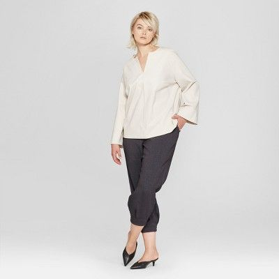 cf39c3191 Women's Plus Size Long Sleeve V-Neck Blouse - Prologue? Cream X #Long, # Sleeve, #Women