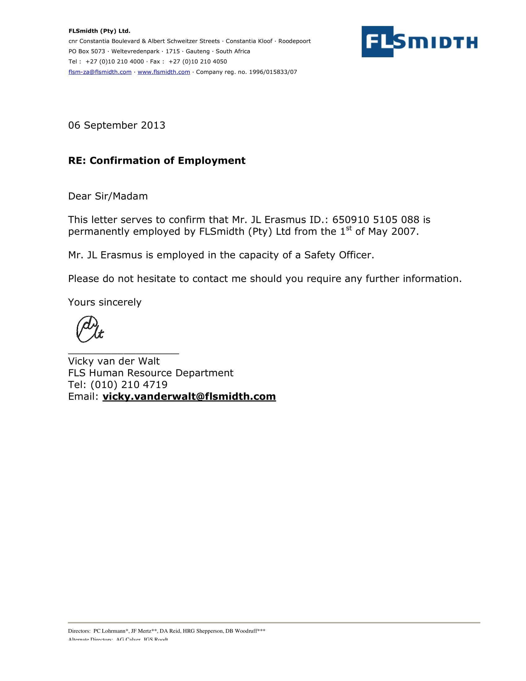 h17b visa employment verification letter