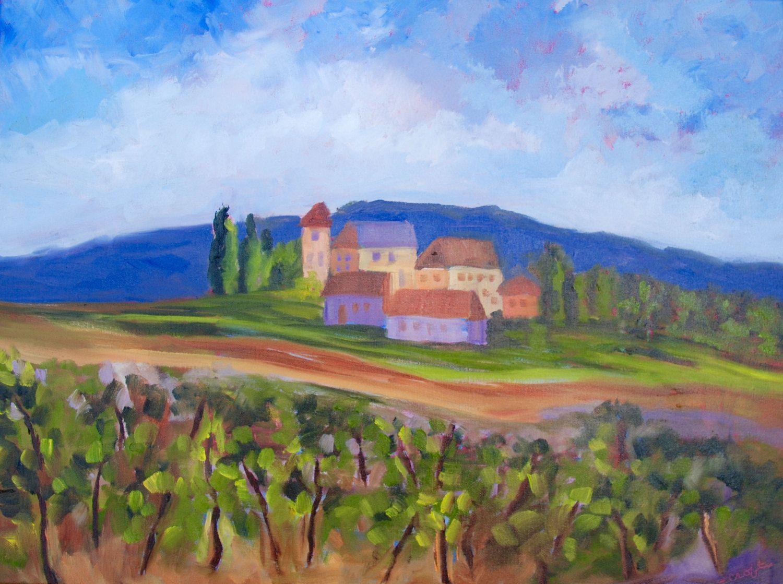 Título: Villa Toscana en el viñedo Pintura al óleo original por ...