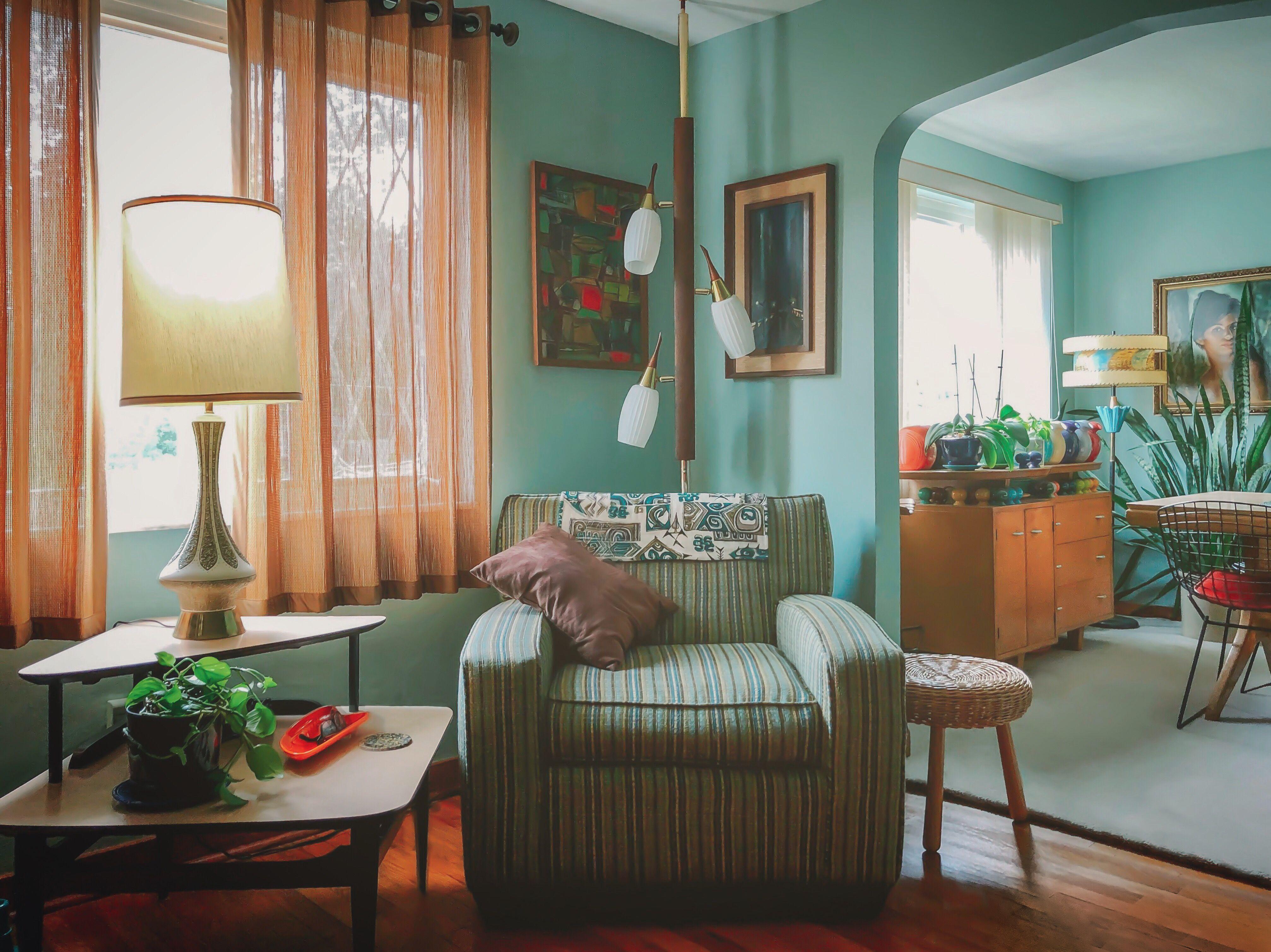 Retro Mid Century Modern Living Room Mid Century Modern Living Room Decor Retro Living Rooms Living Room Orange