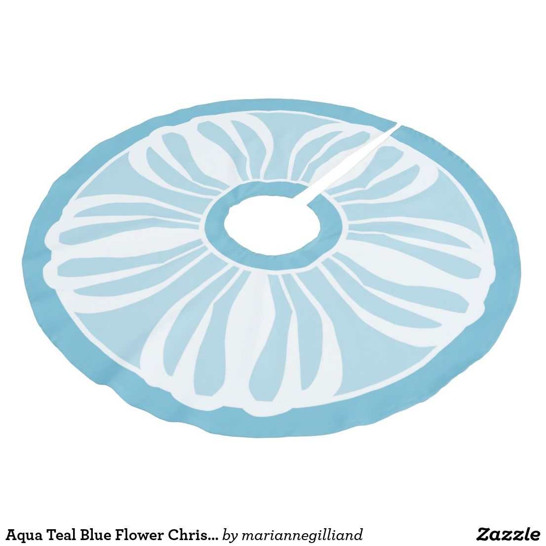 Aqua Christmas Tree Skirt: Aqua Teal Blue Flower Christmas Tree Skirt