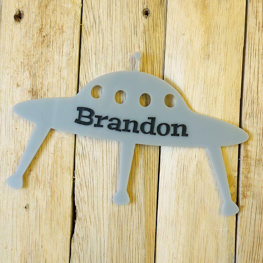Personalised UFO Laser Cut Acrylic Engraved Name Sign - Custom Word ...