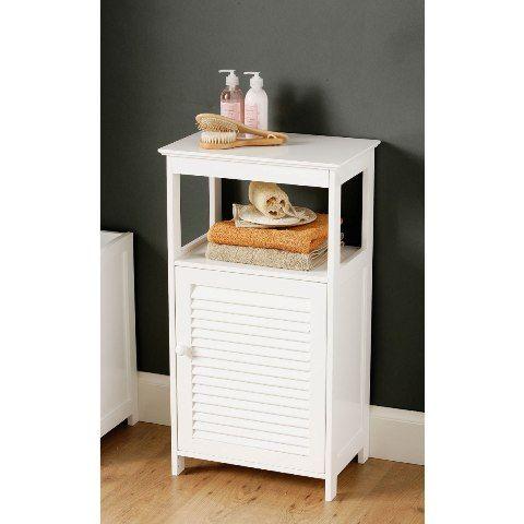 Great White Bathroom Floor Cabinet With Shelf
