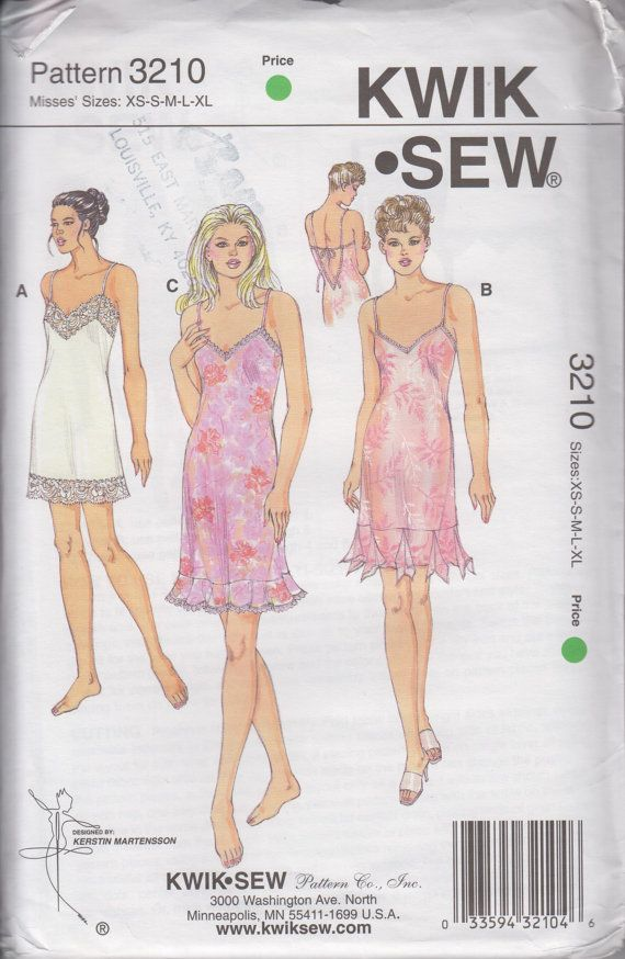 Kwik Sew 3210 Misses Lingerie Nightgown Womens Sewing Pattern Size ...