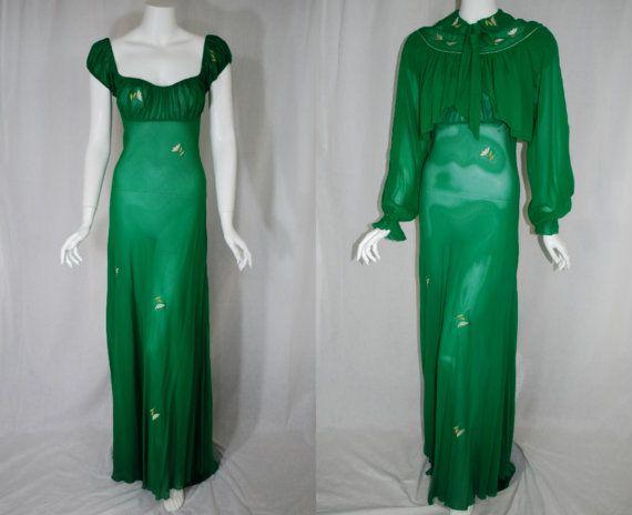 1940s Lucie Ann Sheer Green Silk Peignoir Set by IntimateRetreat