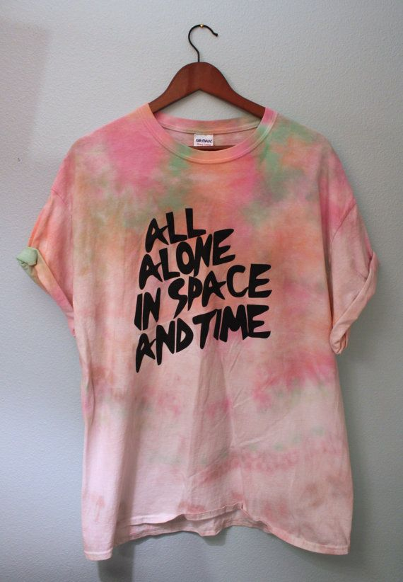 X-LARGE All Alone In Space And Time (Orange/Pink/Green) Tie Dye T-Shirt Unisex Tumblr Grunge